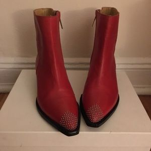 IRO red ankle boots with studs . Size 39/ US 8.